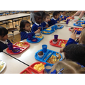 Enjoying our first school dinner, fish and chips!