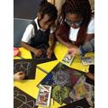 Year 6 teaching us how to draw a Rangoli pattern
