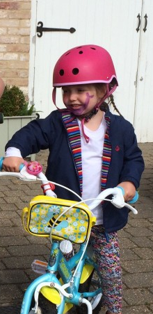 Learning to ride my bike.