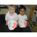 Prints of our feet to bring good luck to our class