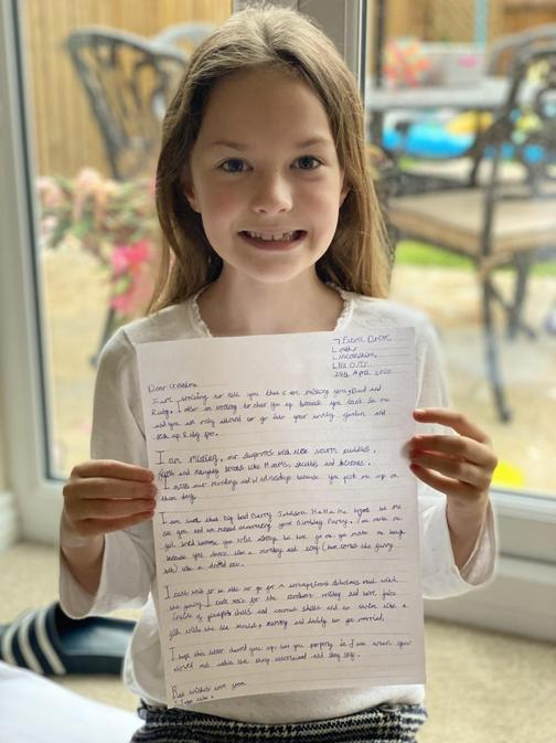 Jasmine wrote a beautiful letter to her grandma
