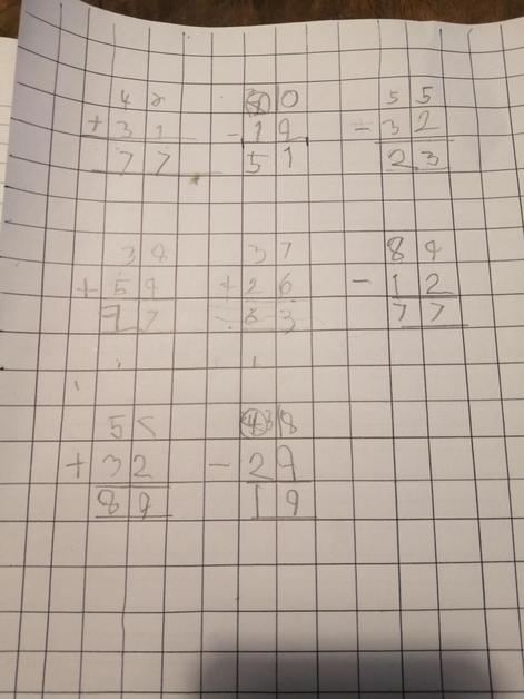 Tommy has been learning how to set column methods out neatly.