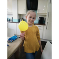 Eva doing an experiment with unpoppable balloons!