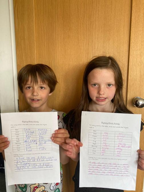 Sam and Florence have been rhyming word whizzes!