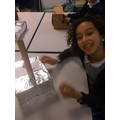 Habiba is happy with her seismograph.