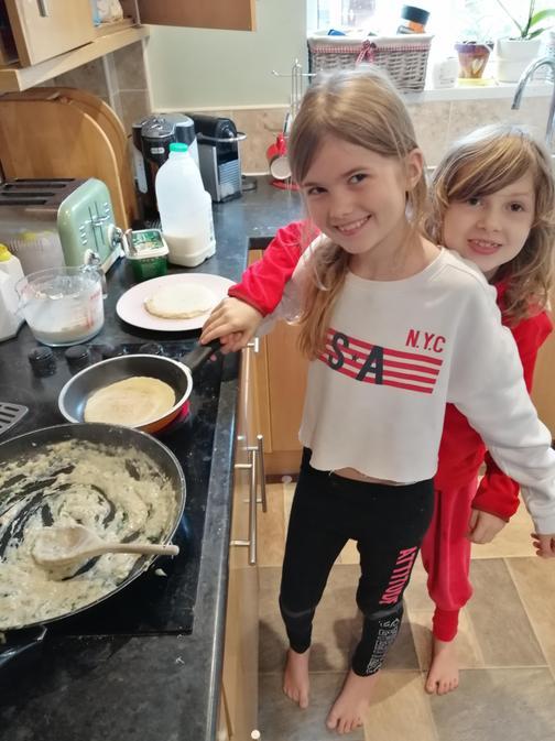 She's also helped Alexia make tasty pancakes. Yum!