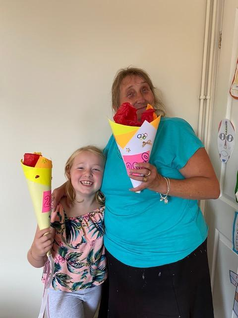 Mia made a fantastic Olympic Torch with her Nanny!