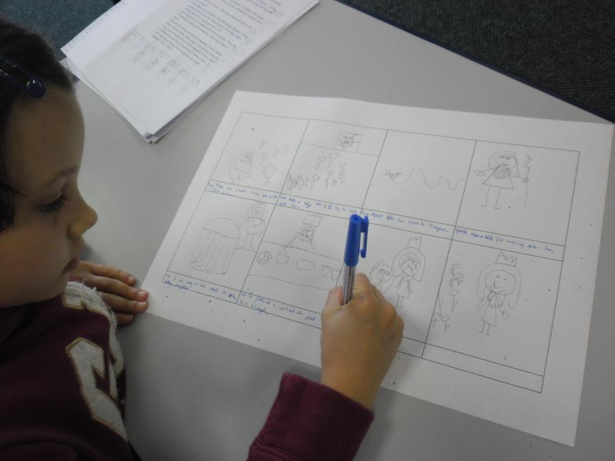 Alexandra concentrated really hard on her storyboard.