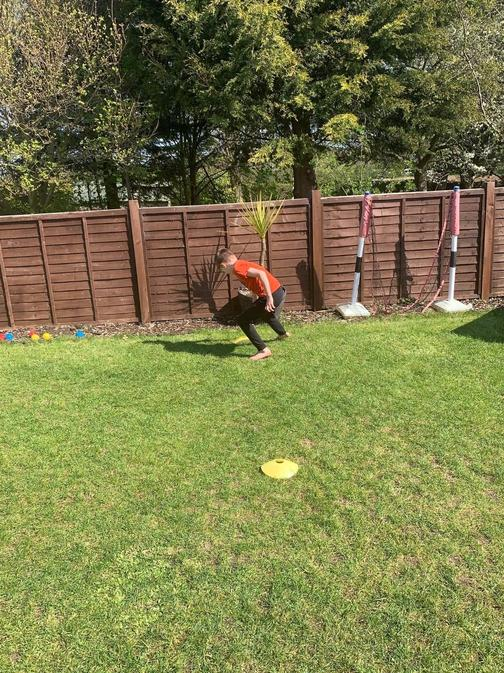 Max has built an obstacle course in the garden!