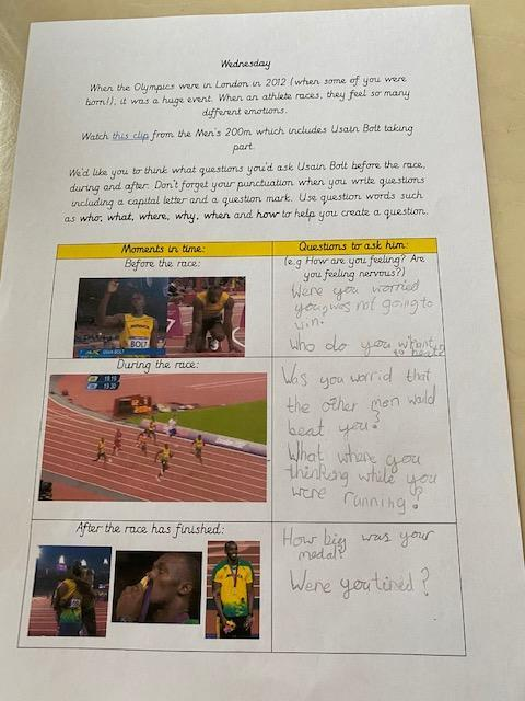Thoughtful questions for Usain Bolt, Mia!