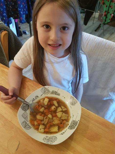 Amelia ready to try her soup!