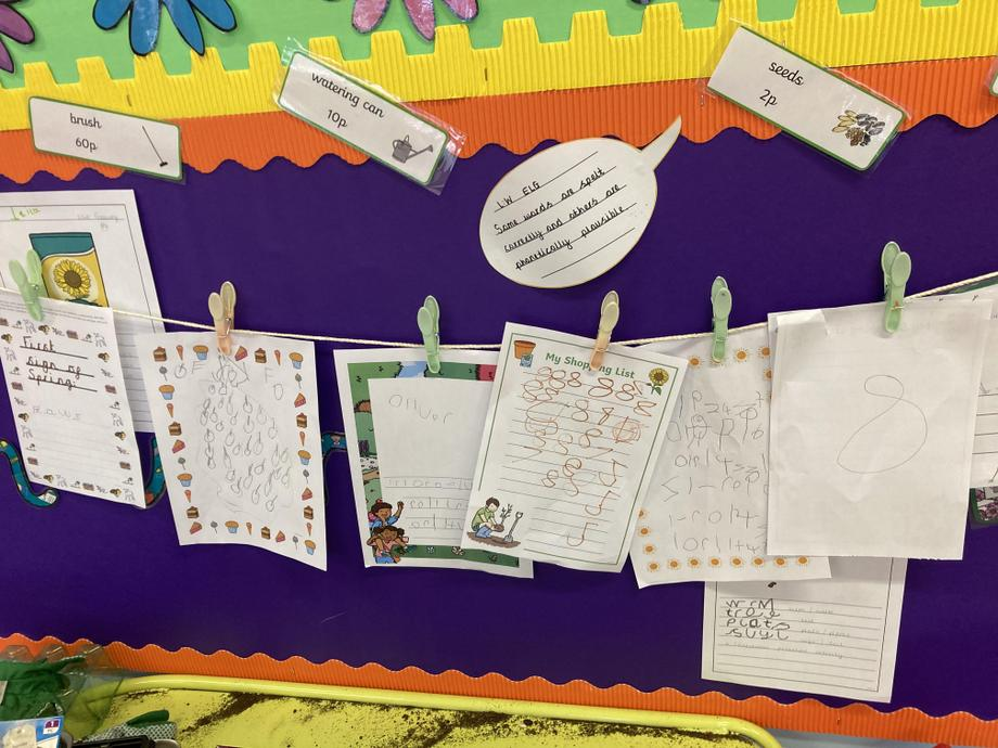 Our 'I can write' independent work display