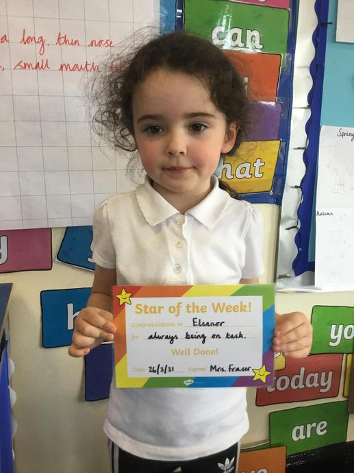 Our weekly winner Eleanor. Well done. We are so proud of you!