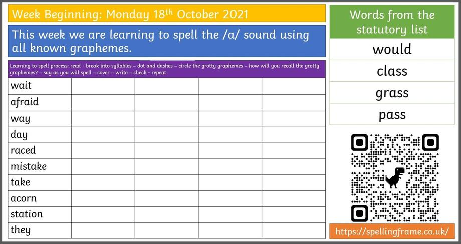 Spelling Home Learning WB.18.10.21
