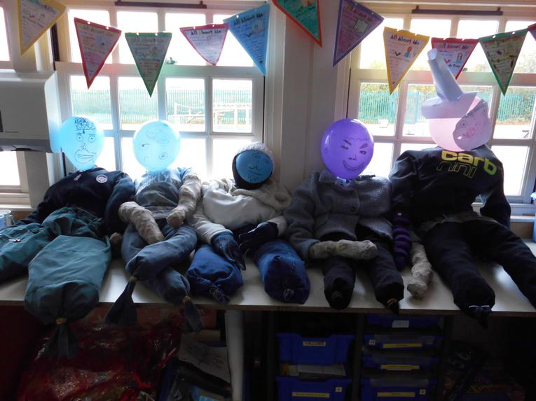 Our completed Guys, chilling out in the classroom.