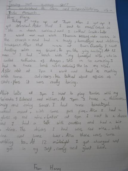 We wrote a diary entry for Henry VIII By Megan