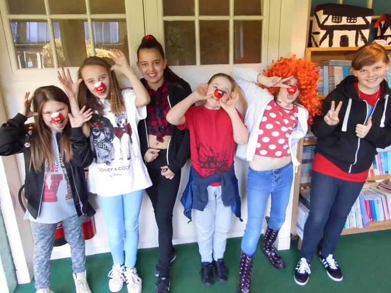 Year 6 girls in red