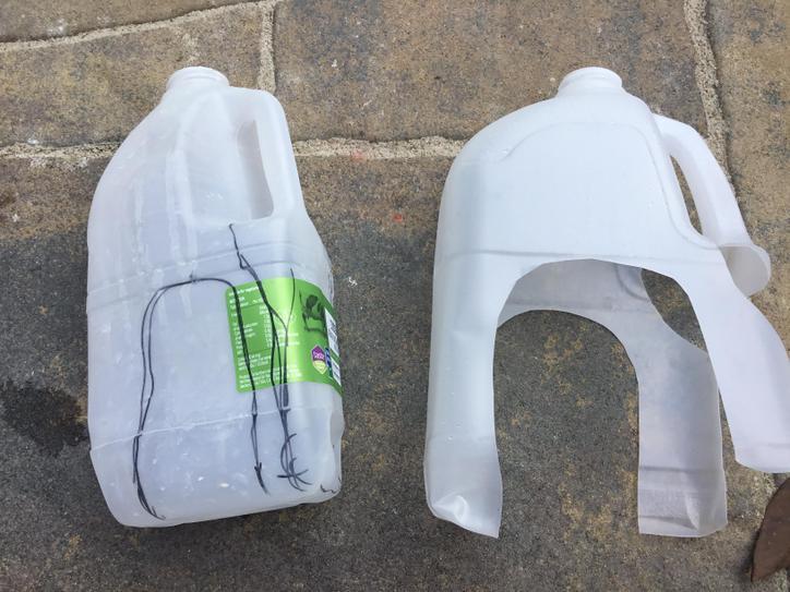 Find a empty milk carton. Draw a shape like this