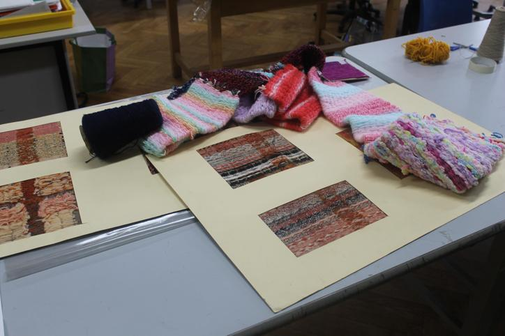 Some of Matthew's and Mrs Davey's weaving samples