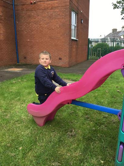 Milo tried to climb up the slide.