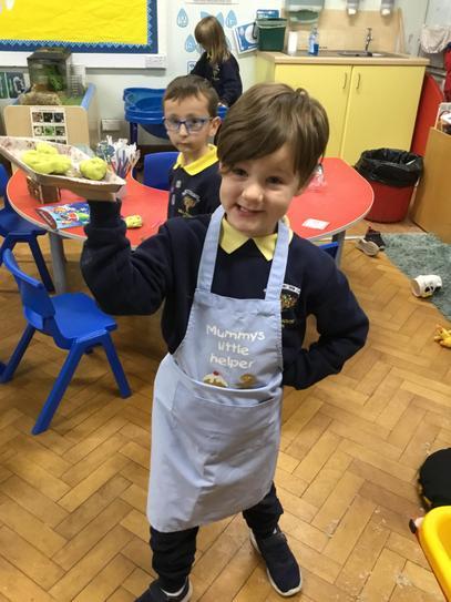Freddie made us all yummy play dough buns.