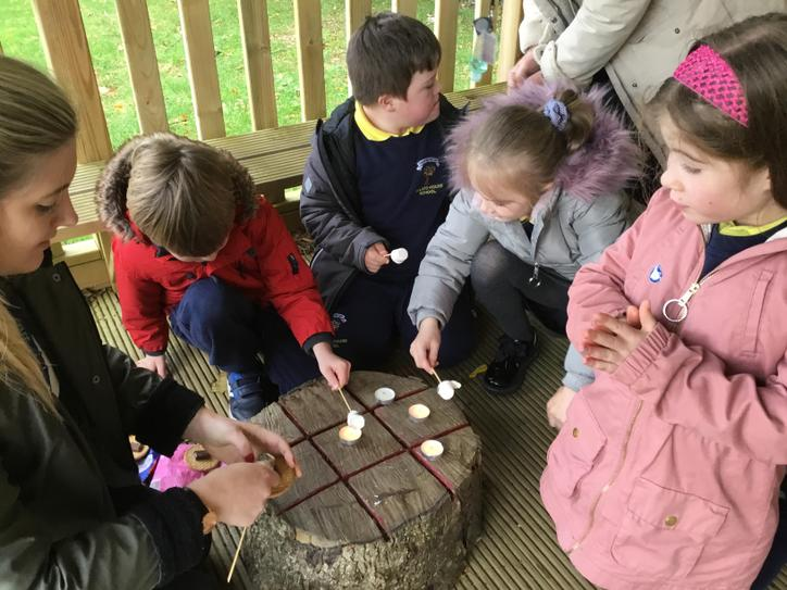 We loved making tea light s'mores in our outdoor classroom.