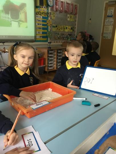Lola and Mason did excellent work with our word writing carousel.