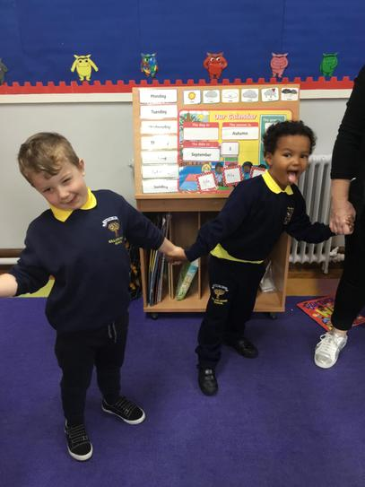 "Alfie and Nathanael are pulling a funny face during our ""emotions hokey pokey""."