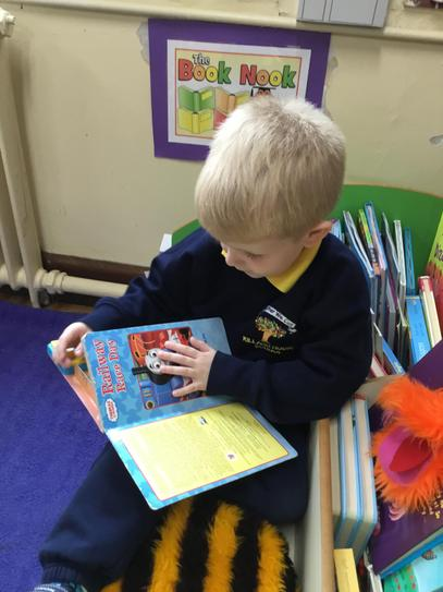 Henry enjoyed lots of books in our story corner.