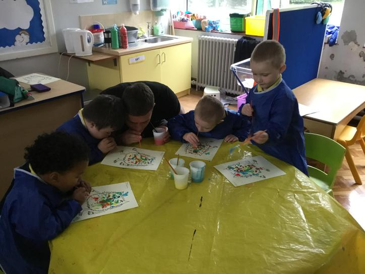 In art we used blow painting to make a mixed up colour monster