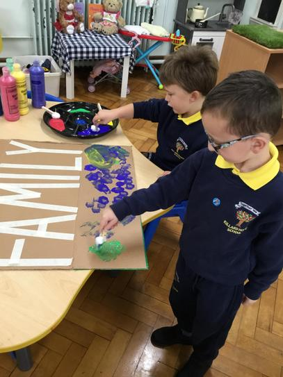 Painting with cotton wool? We are so creative!