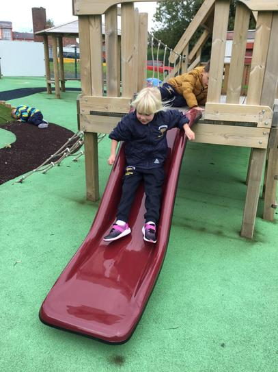 Cassidy had great  fun in our new school park.
