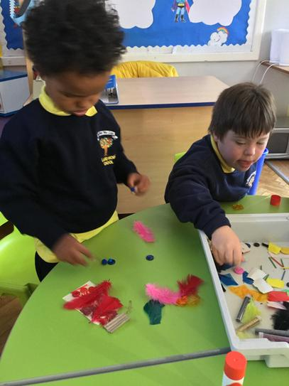 Nathanael & Harry worked hard to sort all the colours for our colour monster jars.