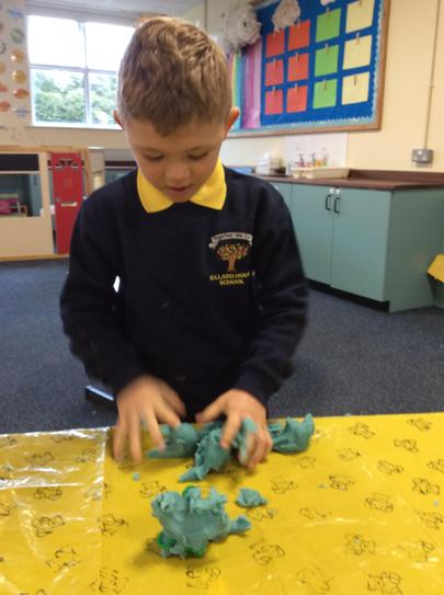 Brodie was very good at squeezing the playdough