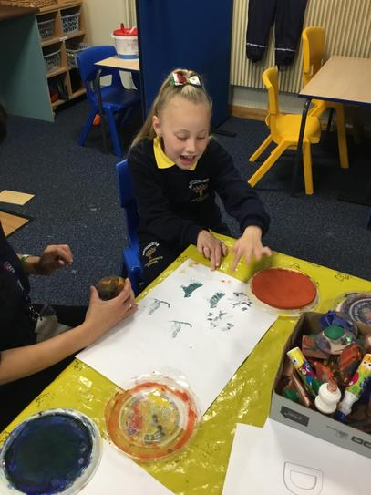 Darci is very creative and enjoyed using the paint stampers.