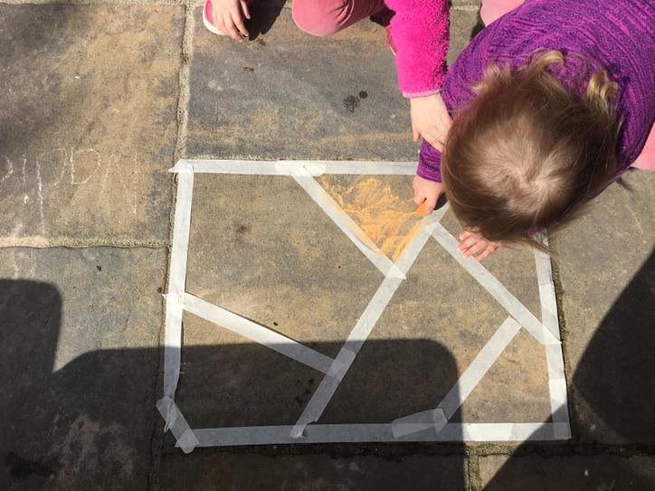 Fill in each shape with different coloured chalk
