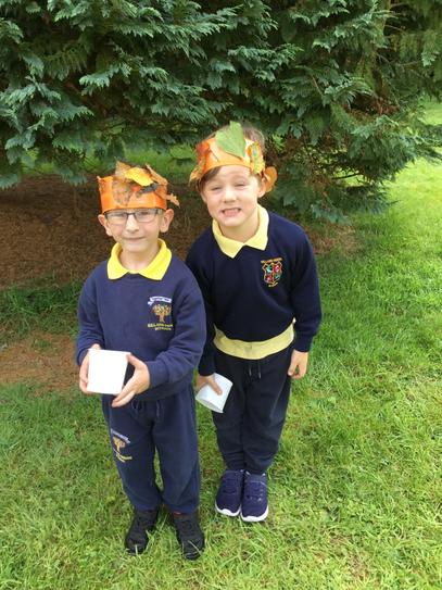 Jack and Freddie's leaf crowns look fantastic.