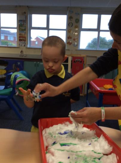 Jake wasnt too sure about the messy play foam