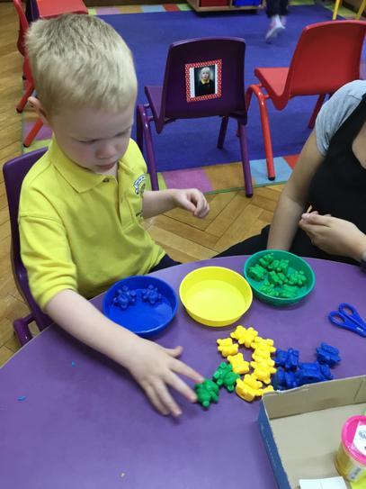 Euan worked hard at his sorting activity.