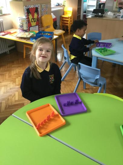 Lola was sorting items for colour, type and size in numeracy.