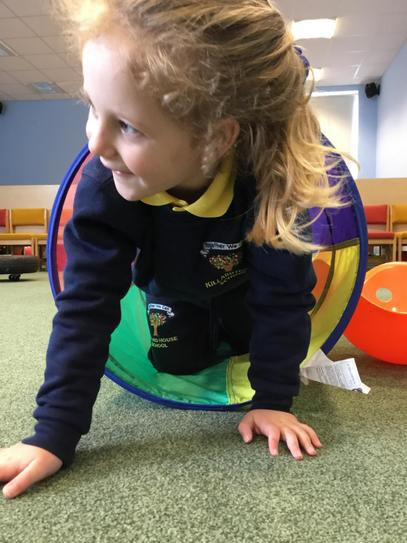 Marilyn is having great fun during our sensory circuit.