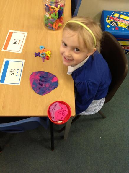 We like using different ways to make words. Playdoh is our favourite!