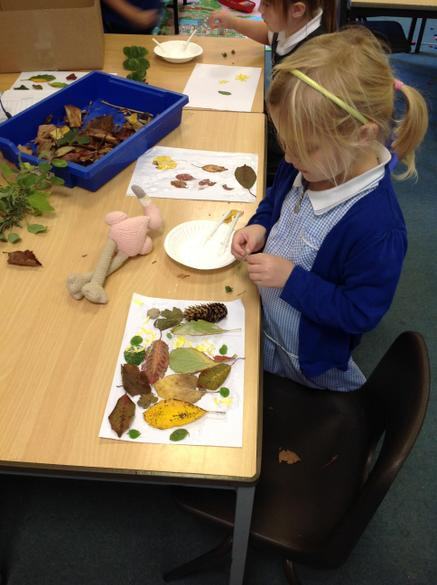 We made beautiful leaf collages inspired by the amazing colours of the leaves outside.