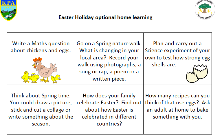 Easter Holiday Activity Sheet