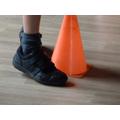 Organising - walking round cones.