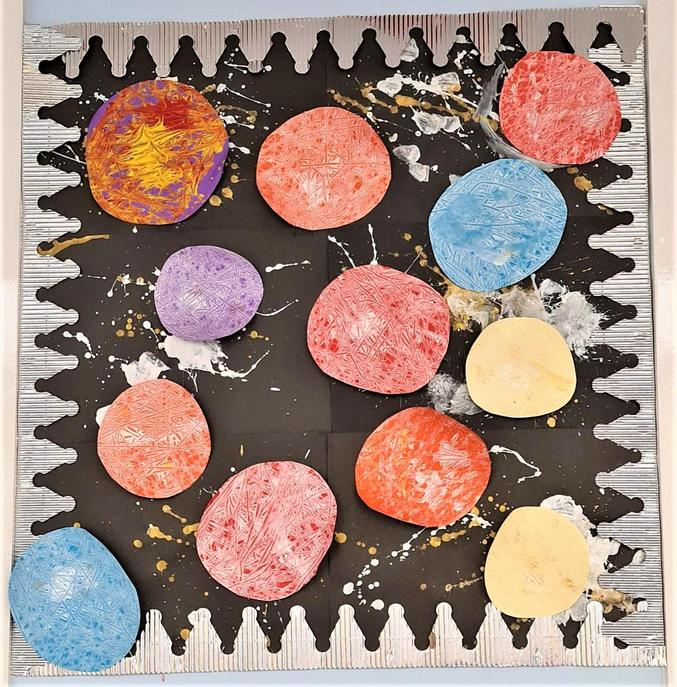 Marbling and splatter painting - March 2021
