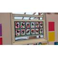 Our Wonderful stained glass windows based on our RE topic, Christianity.