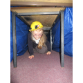 We enjoyed creating our very own mine in the classroom and experiencing what it would be like to be a miner. We also pulled and pushed through our recycling box full of books to experience a fraction of the weight of  a cart full of coal.