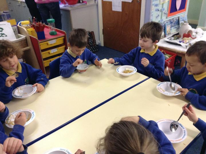 We ate noodles and prawn crackers for snack!