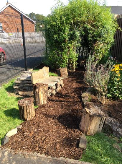 Exploring different natural materials in the Nursery garden.